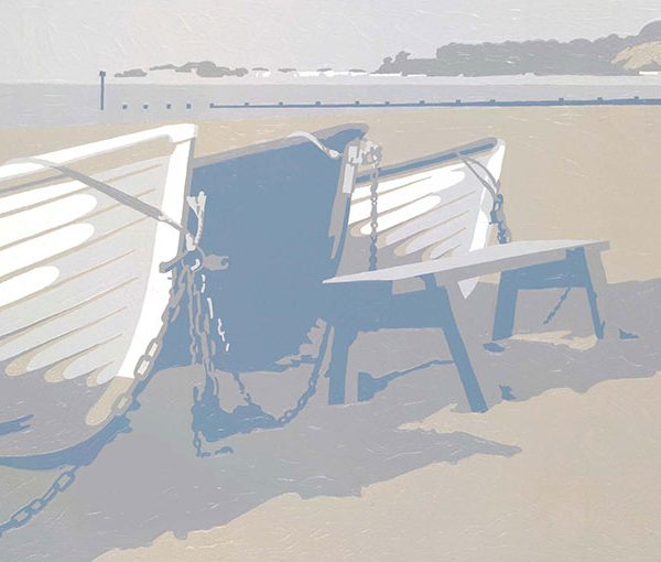 blue boats sandbanks dorset art